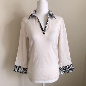 V-neck Zebra Collared Top